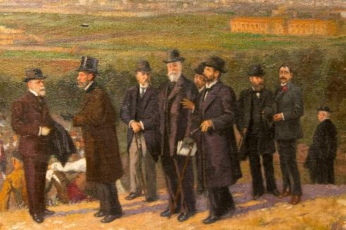 de izda. a dcha., Francisco Pradilla,Santiago Ramón y Cajal,Marcos Zapata, Segismundo Moret, Basilio Paraíso, Mariano de Cavia y Florencio Jardiel