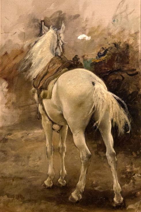 Francisco Pradilla. Estudio de caballo para el suspiro del moro. 1887. óleo lienzo. Museo de Zaragoza. Foto Elisa Santos